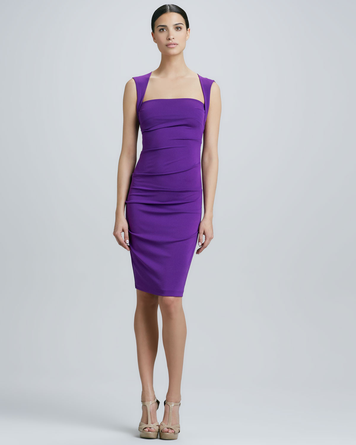 Lyst  Nicole Miller Squareneck Cocktail Dress in Purple