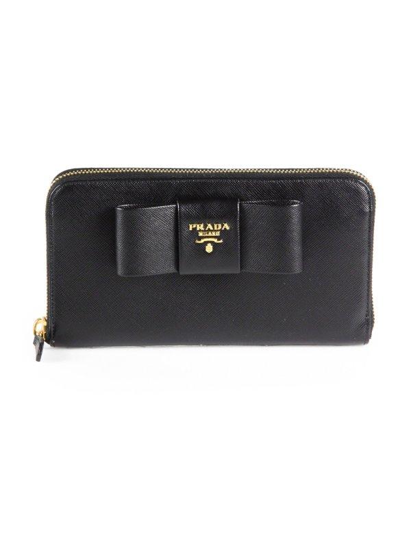 Lyst - Prada Saffiano Bow Zip- Wallet In Black