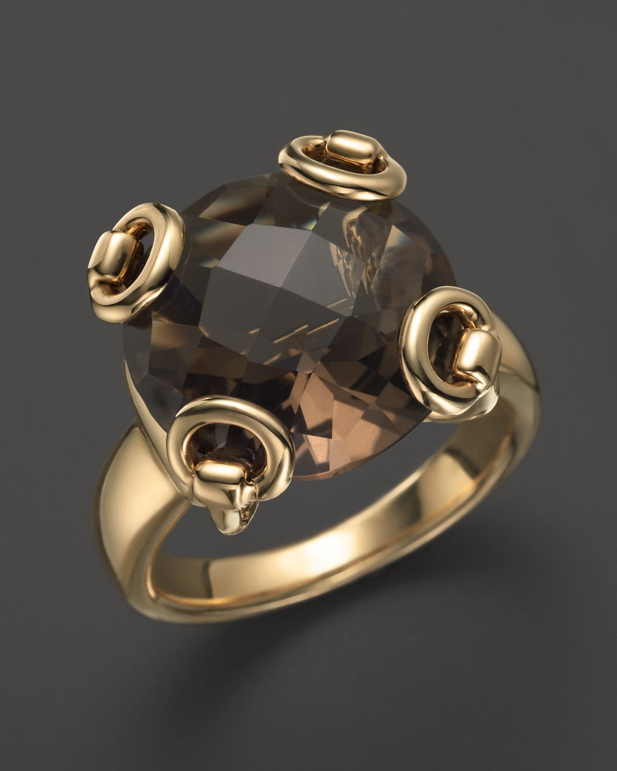 Lyst  Gucci 18k Yellow Gold Smokey Quartz Horsebit Cocktail Ring in Yellow