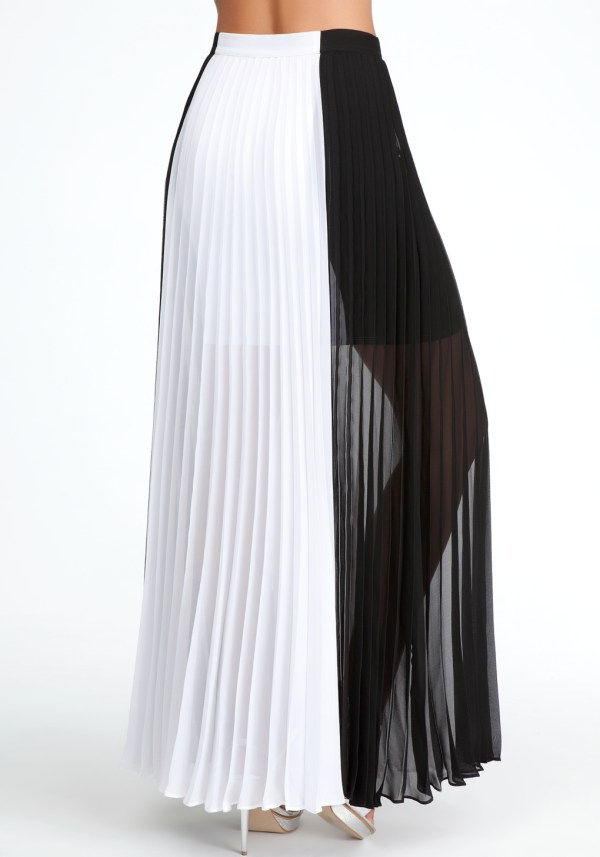 fe504cf233 Black White Pleated Maxi Skirt Women Dresses African - Year of Clean ...