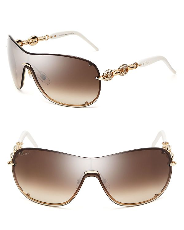 Gucci Chain Link Shield Sunglasses In Metallic - Lyst