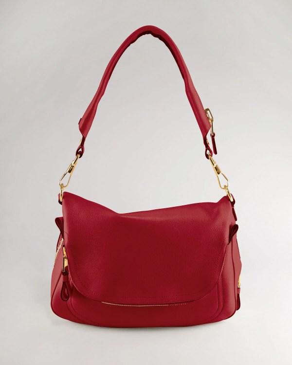 Tom Ford Jennifer Large Leather Shoulder Bag In Red Lyst