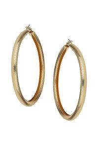 Topshop Oversized Sandblast Hoop Earrings in Metallic   Lyst