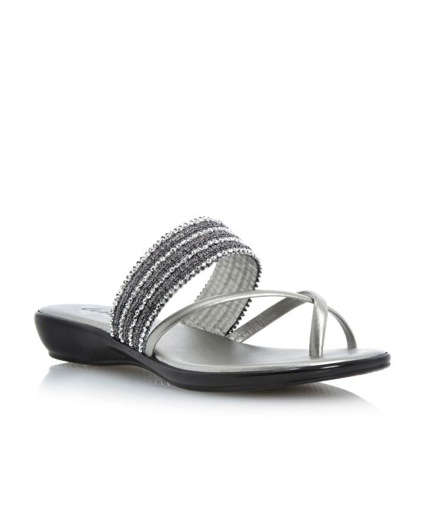 Linea Judson Beaded Flat Sandals In Silver Pewter Lyst