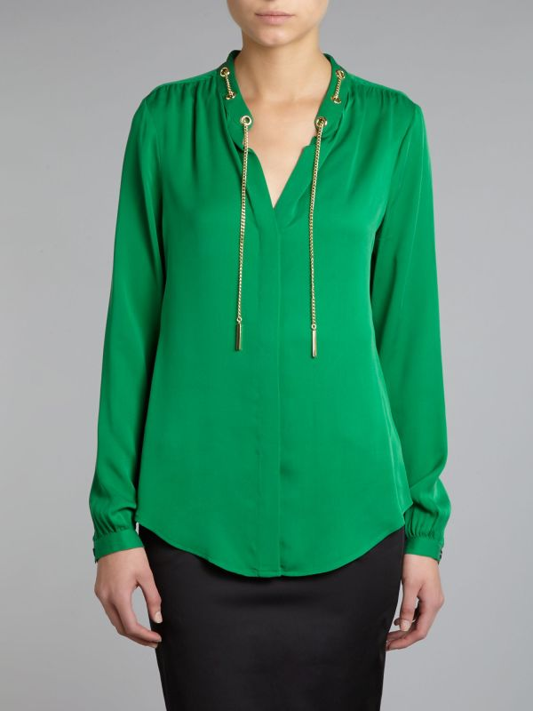 Lyst - Michael Kors Silk Vneck Blouse With