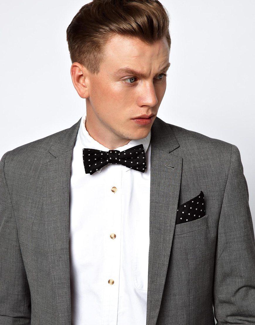 bow-tie pocket square suit