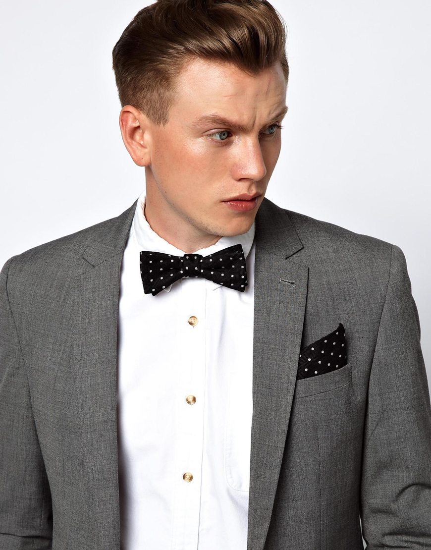 bow-tie pocket square suit