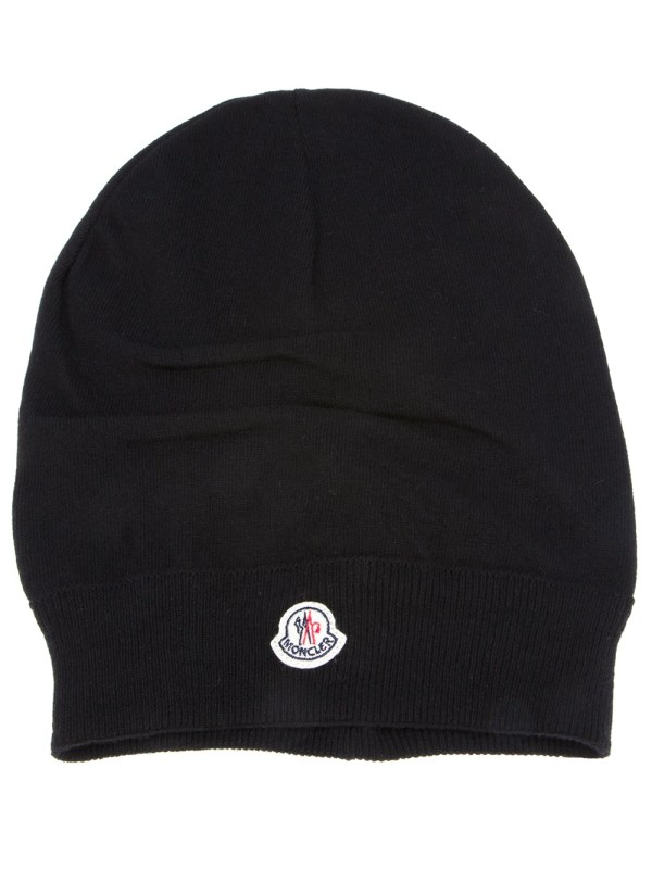 Moncler Knitted Beanie In Black Lyst