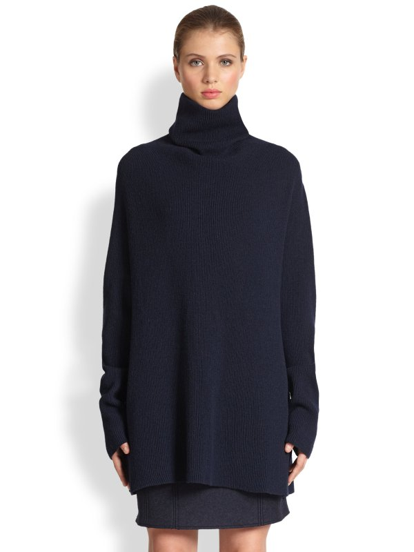 Maison Margiela Wool Cashmere Turtleneck Sweater In Blue