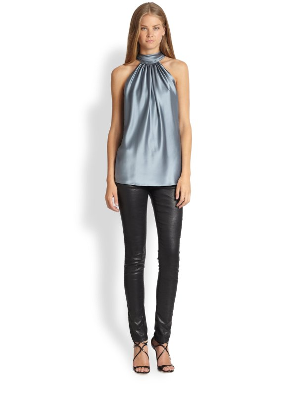 Ramy Brook Paige Stretch Silk Satin Halter Top In Gray - Lyst
