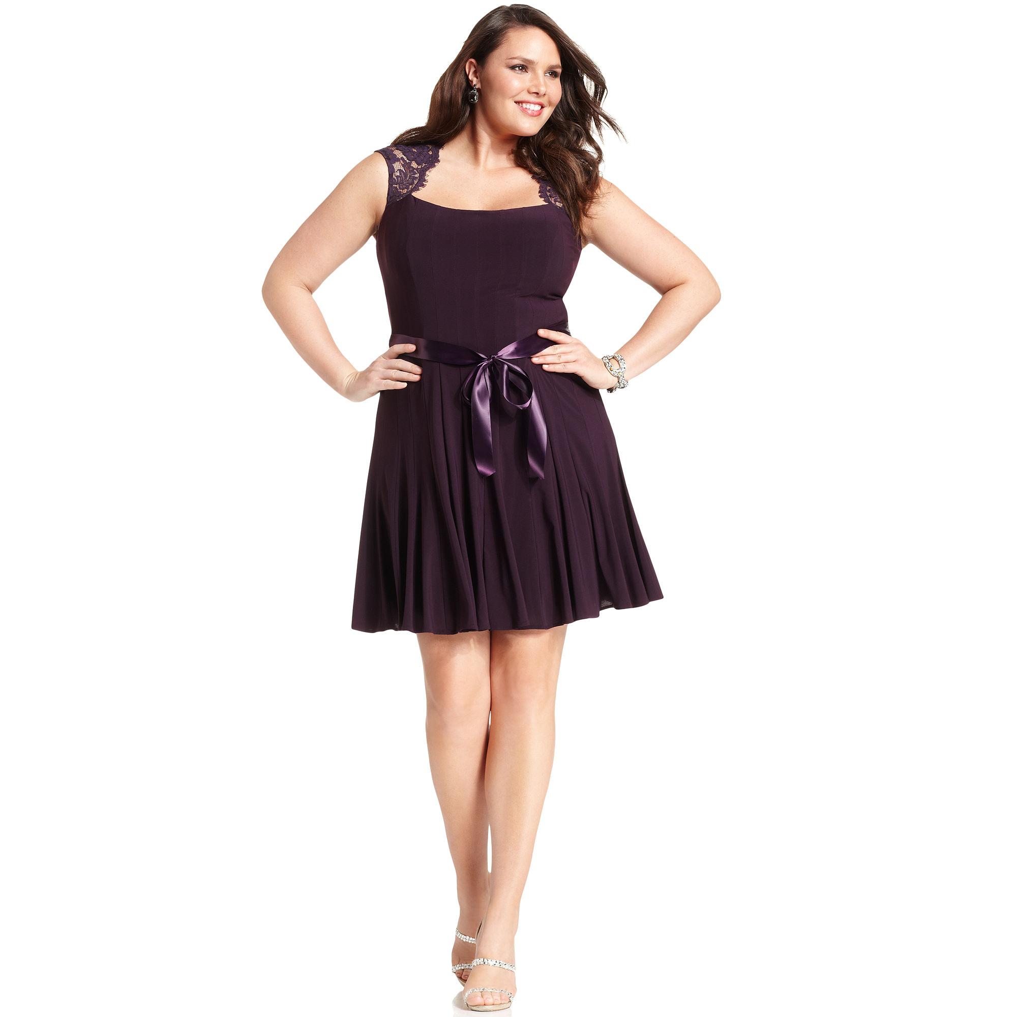Xscape Xscape Plus Size Dress Capsleeve Lace Seamed in Purple Plum  Lyst