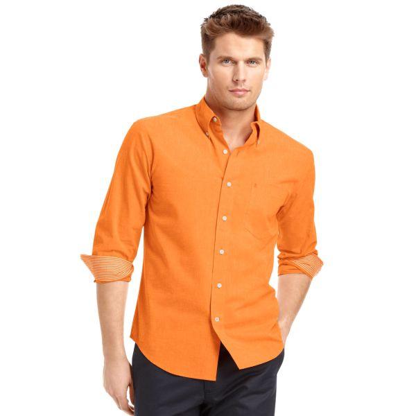 Lyst - Izod Big And Tall Shirt Longsleeve Essential Solid In Orange Men