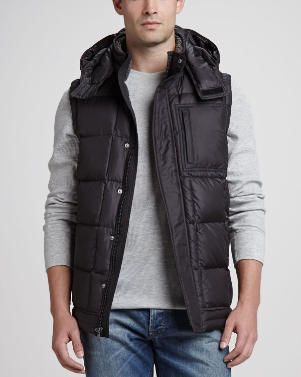Ugg Poia Hooded Puffer Vest Black In Charcoal Lyst
