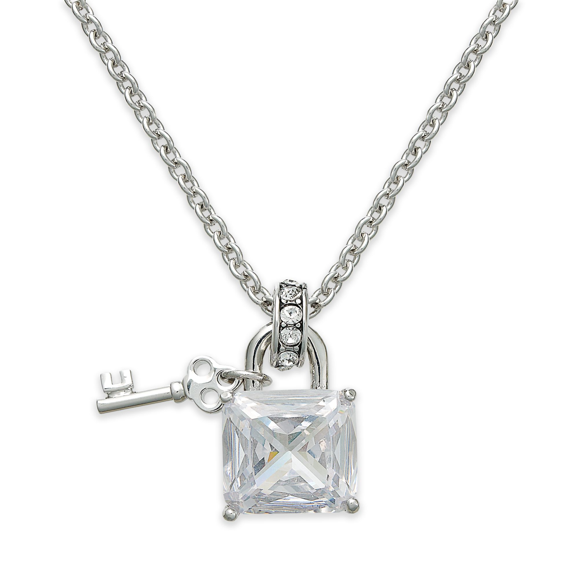 Juicy Couture Silvertone Crystal Padlock Pendant Necklace