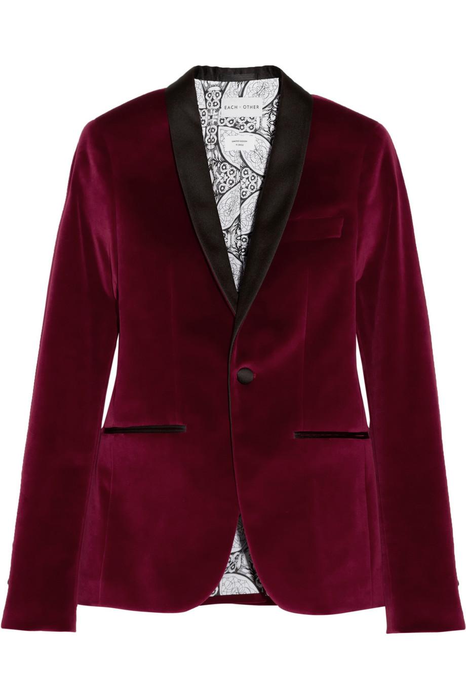 Each X Other Satin Trimmed Velvet Tuxedo Blazer In Red Lyst
