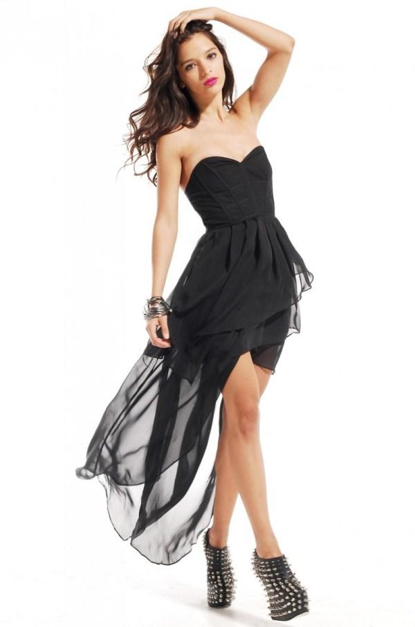 Akira Black Label Corset Back Bustier Highlow Dress in
