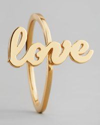 Jennifer zeuner Sideways Cursive Love Ring in Metallic   Lyst