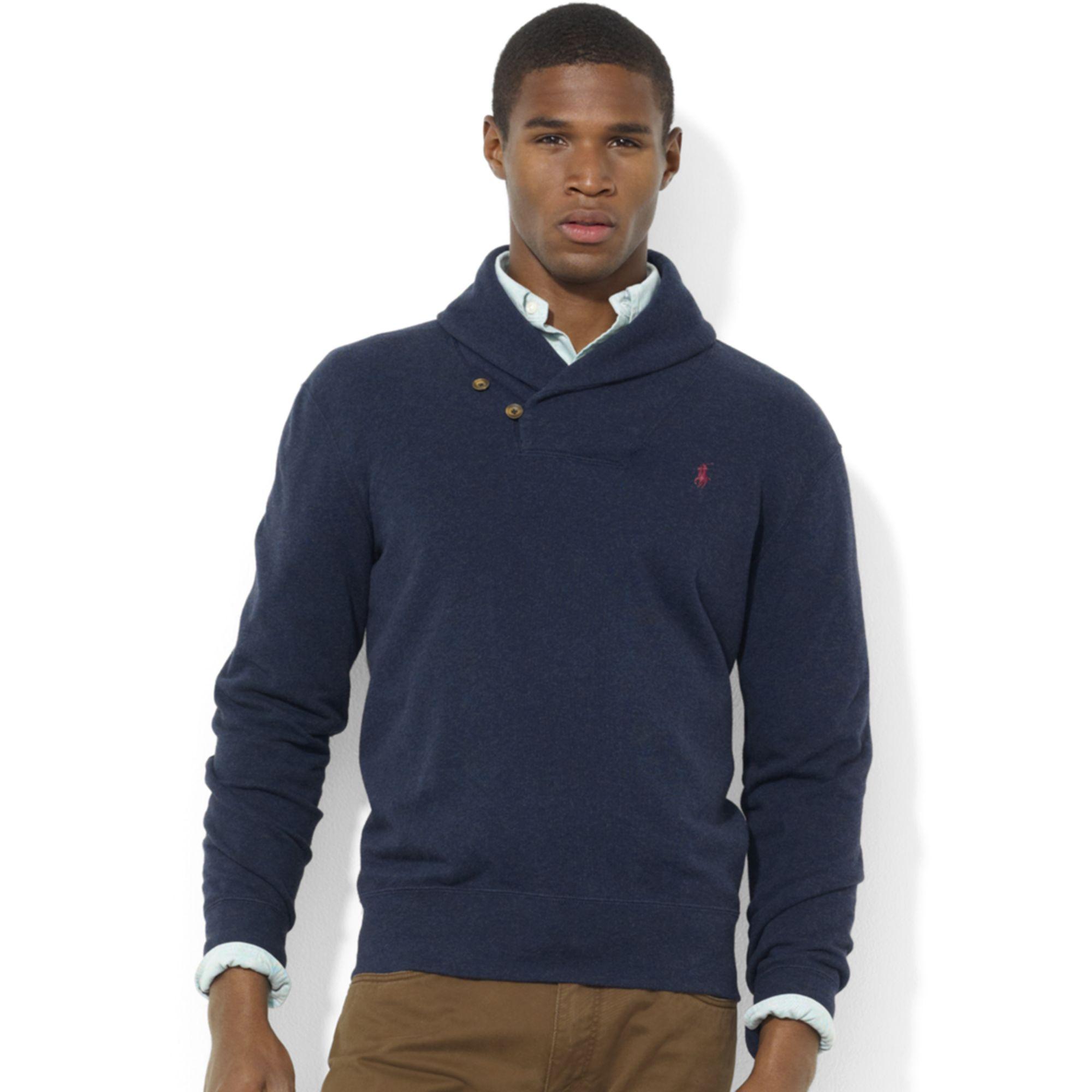 Ralph lauren Shawl Collar Fleece Pullover in Blue for Men