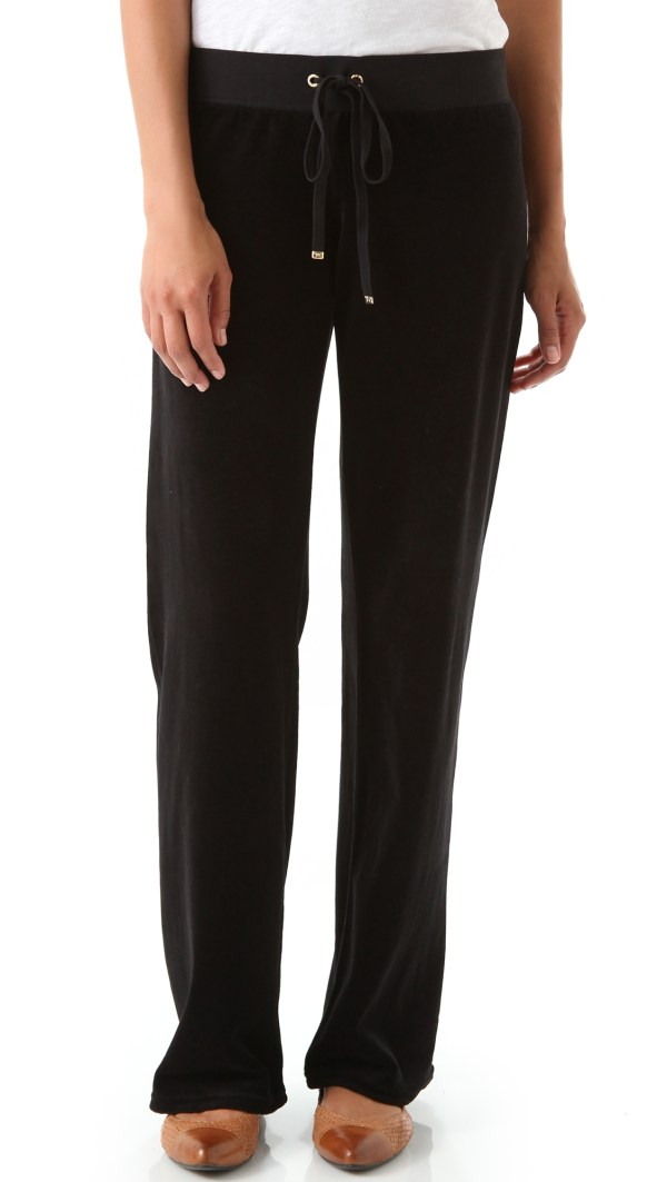 Juicy Couture Velour Original Leg Drawstring Pants In
