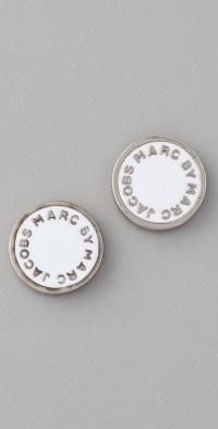 Lyst - Marc by marc jacobs Logo Disc Stud Earrings in Metallic