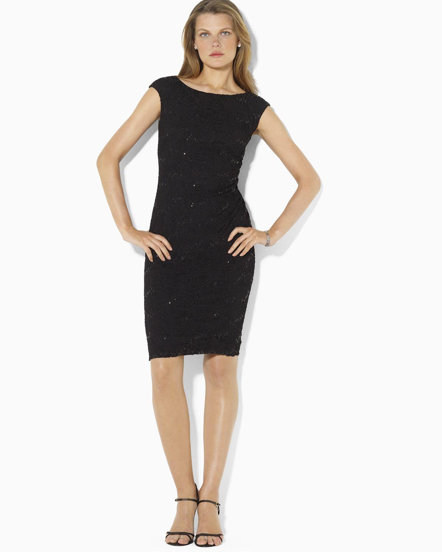 Lyst  Ralph Lauren Cap Sleeve Boat Neck Sequin Stretch Lace Dress in Black