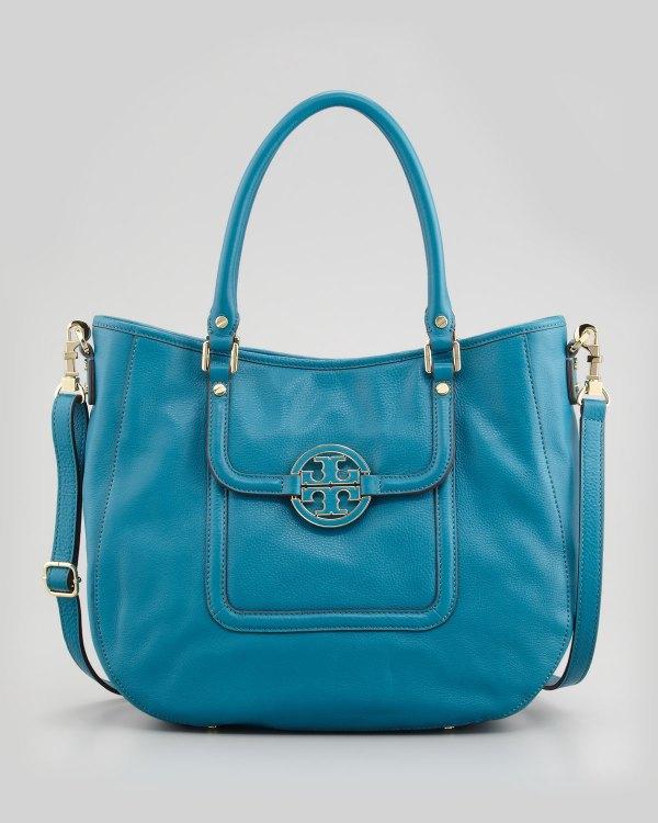 955c7653a ... Tory Burch Amanda Doublehandle Hobo Bag Electric Eel In Blue Lyst