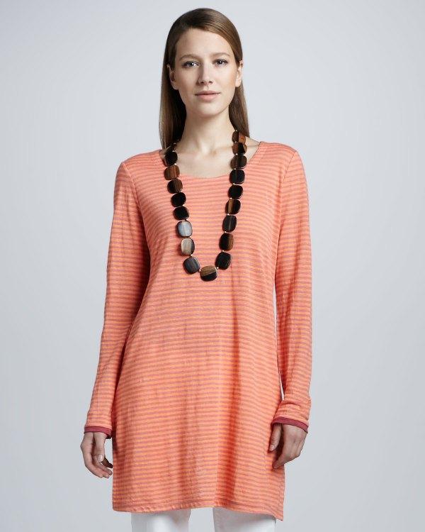 256bf9a8988 Eileen Fisher Striped Long Linen Tunic Petite In Orange Lyst