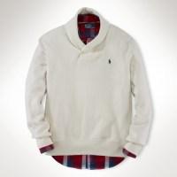 Polo ralph lauren Cotton Shawl Collar Sweater in Natural ...