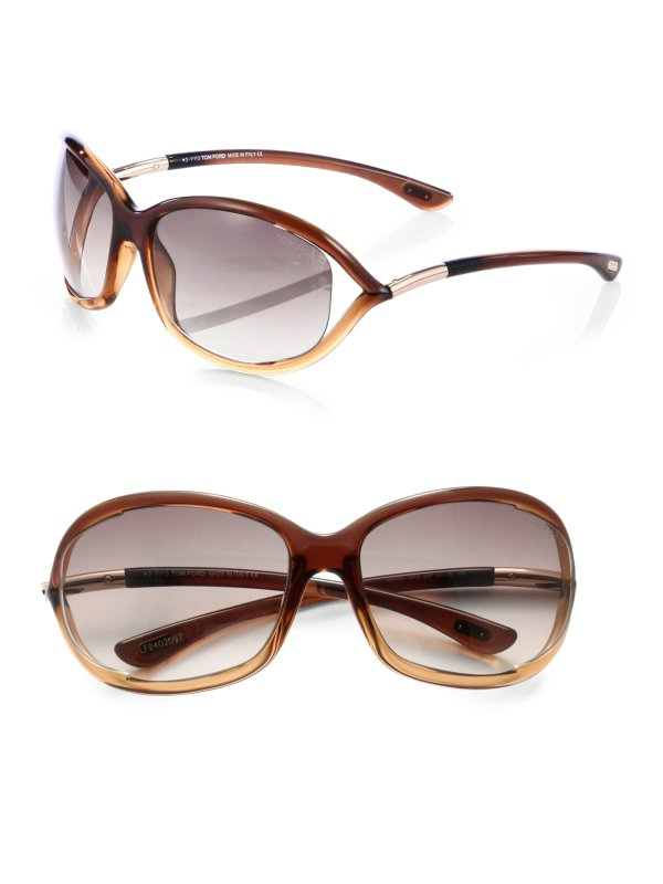 Tom Ford Jennifer Plastic Soft-wrap Sunglasses In Brown Lyst
