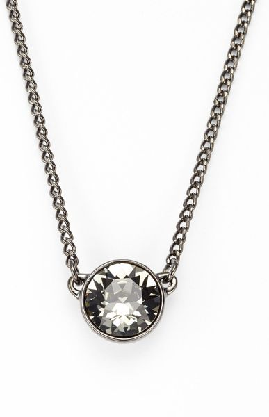 Givenchy Crystal Pendant Necklace in Silver (Hematite