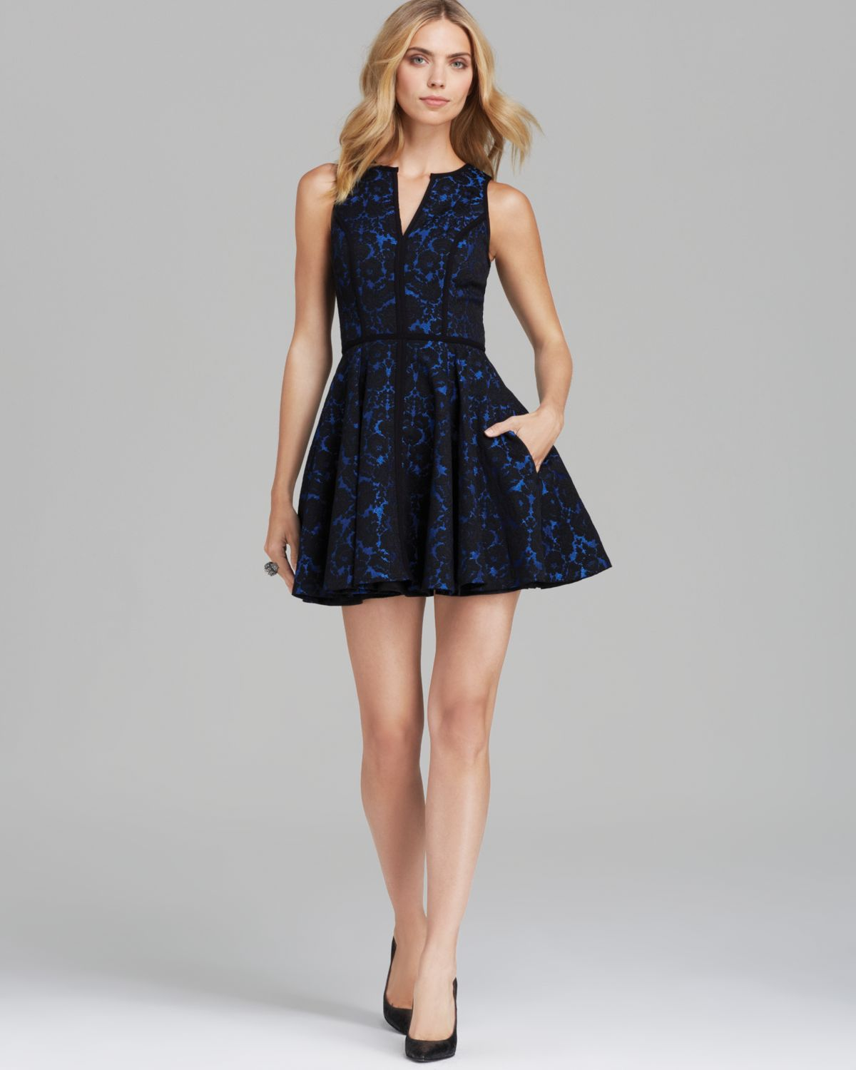 Lyst  Black Halo Sleeveless Floral Brocade Fit and Flare Dress Aria