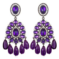 Kenneth Jay Lane Purple Chandelier Earrings in Purple
