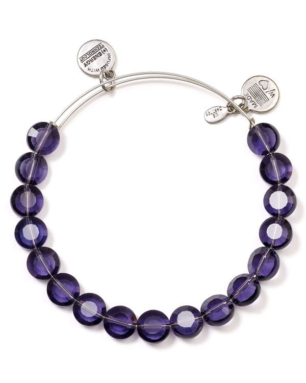 Alex And Ani Luxe Purple Bracelet In Silver