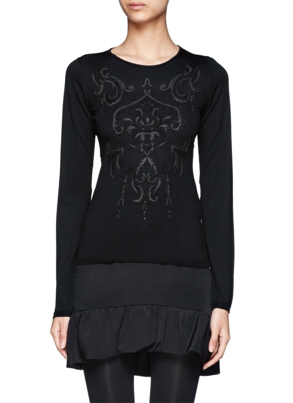 Lyst - Emilio Pucci Leather Baroque Embellished Merino Sweater In Black