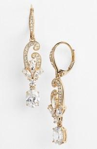 Nadri Crystal Scroll Drop Earrings in Gold (Gold/ Clear ...