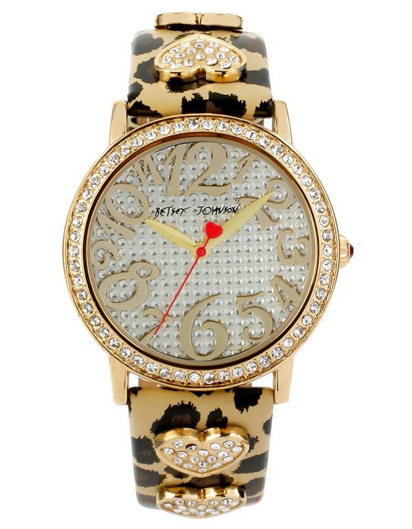 Betsey Johnson Ladies Crystallized Goldtone Watch With