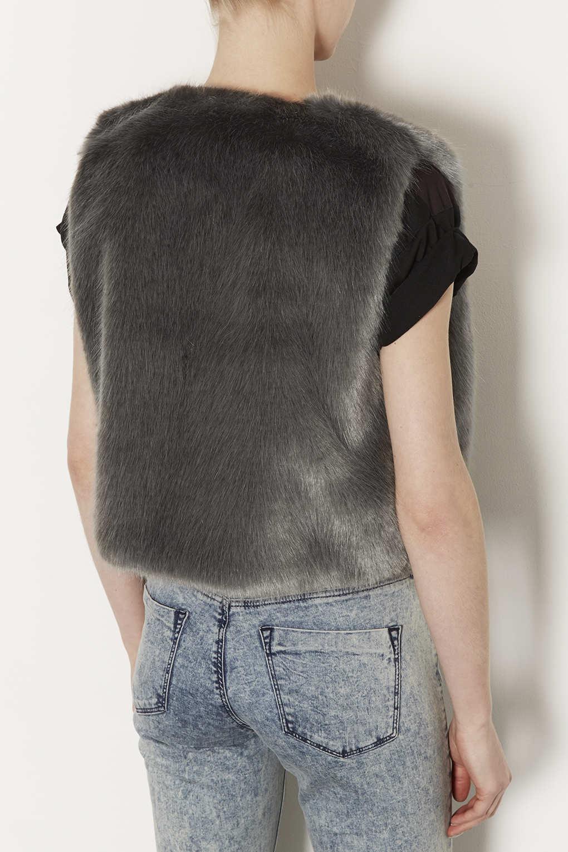topshop faux fur gilet in gray