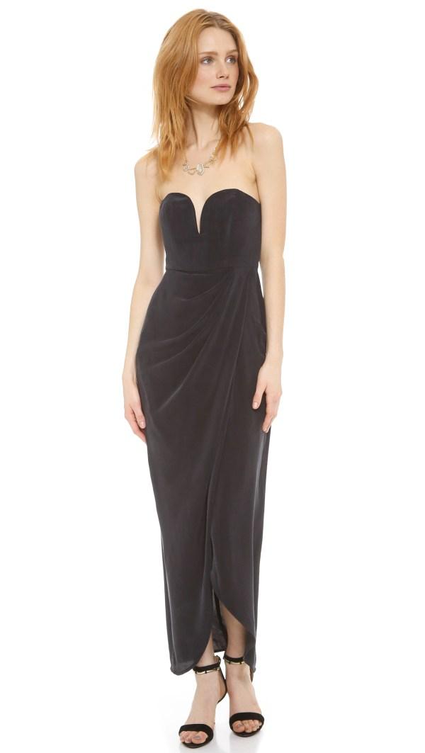 Zimmermann Strapless Drape Maxi Dress In Black Lyst