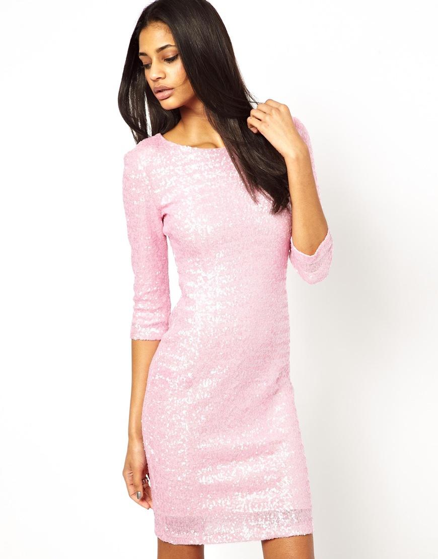 Lyst  TFNC London Long Sleeve Sequin Dress in Pink