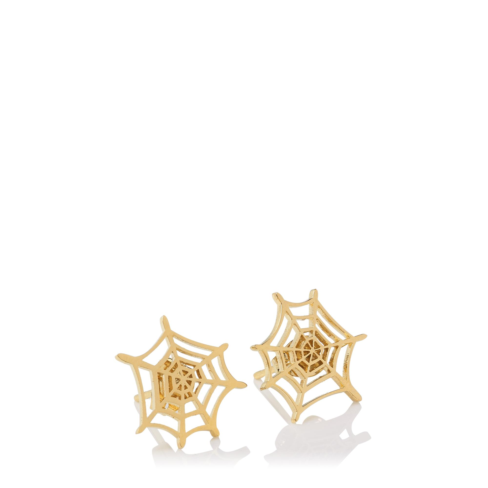 Charlotte Olympia Spider Web Earrings in Gold