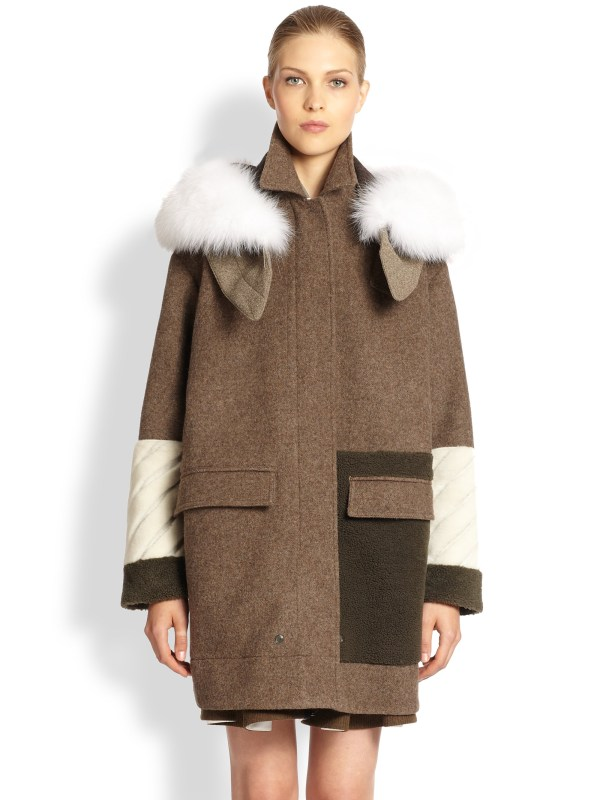 Fendi Furtrimmed Wool Shearling Coat In Brown Men Lyst