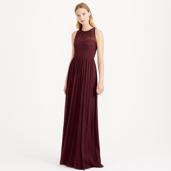 Crew Megan Long Dress In Silk Chiffon Red Lyst