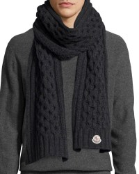 Moncler Men's Cable-knit Cashmere Scarf in Black for Men ...
