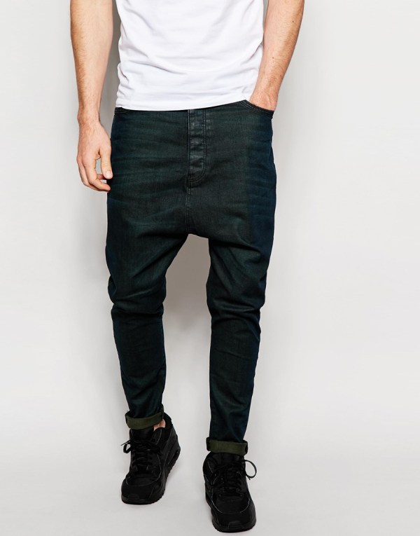 Asos Drop Crotch Jeans With Green Tint In Black Men - Lyst
