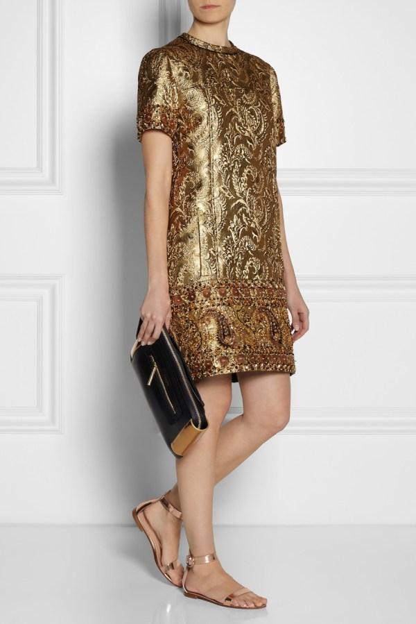 Lyst - Lanvin Embellished Metallic Brocade Dress