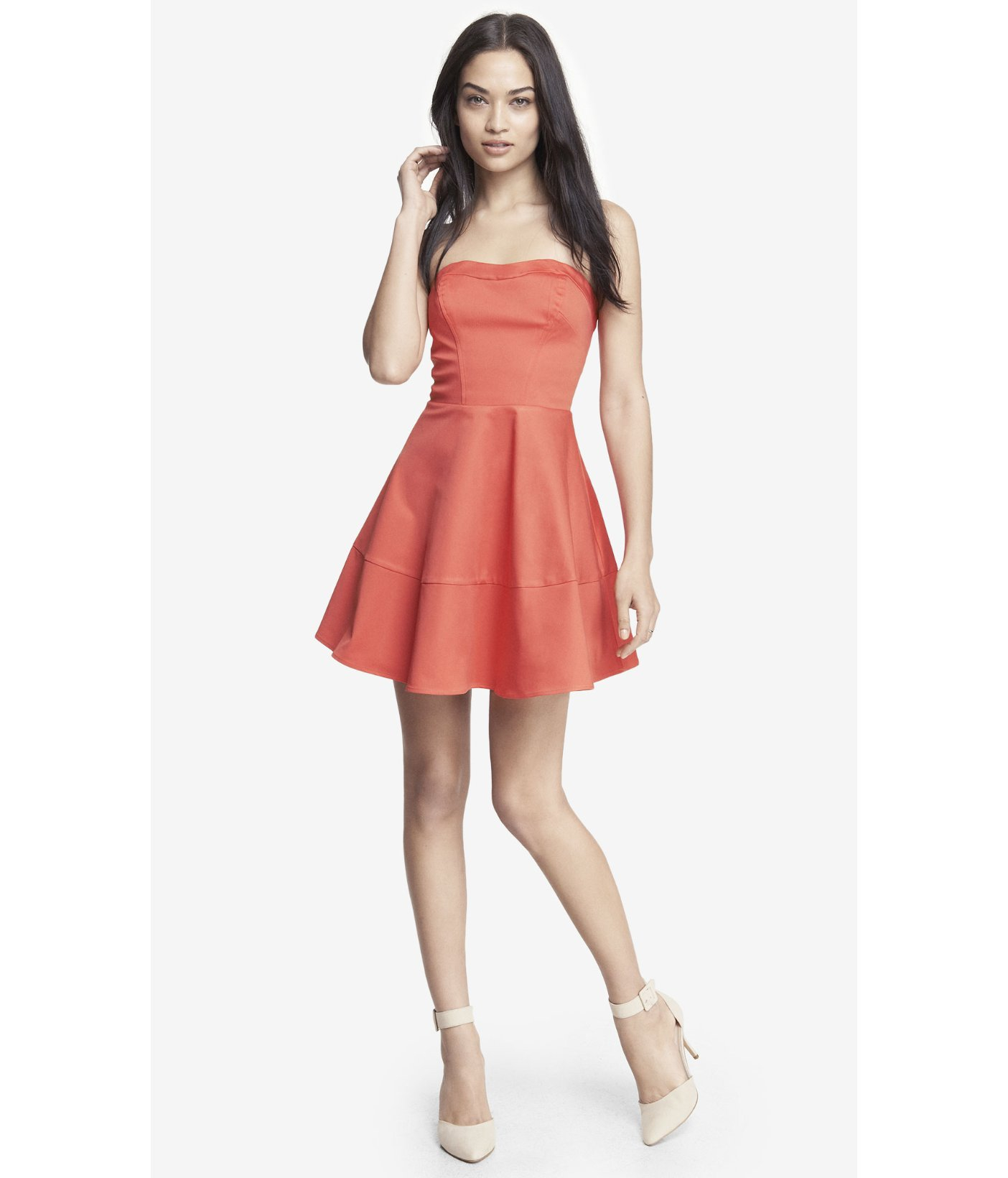 Lyst  Express Strapless Fit And Flare Dress in Orange