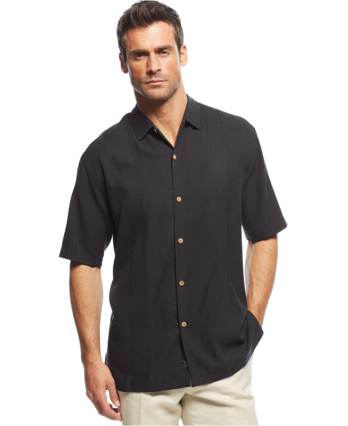 Tommy bahama Tropical OAces Shirt in Black for Men  Lyst