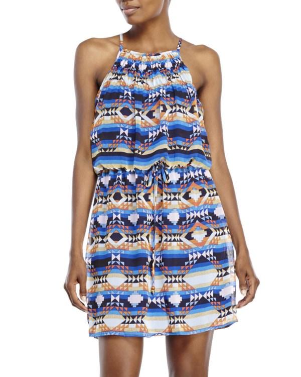 City Triangles Aztec Print Halter Dress In Blue Lyst