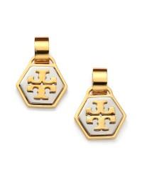 Tory burch Geo T Logo Drop Earrings in Metallic   Lyst