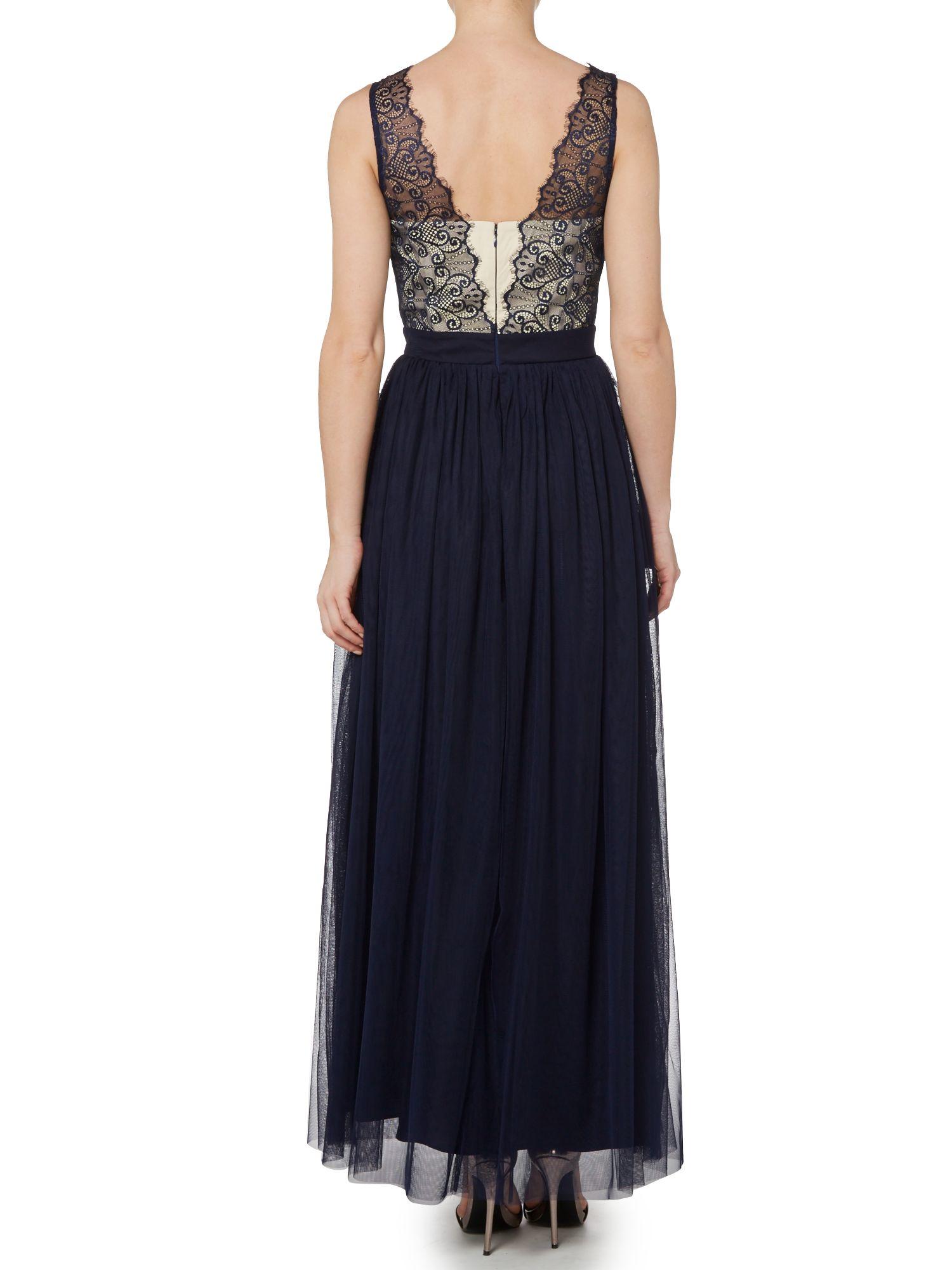 Little Mistress Plunge Neckline Maxi Dress With Lace Top
